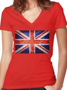 Vintage Britain Flag Burlap Rustic Jute #3 Women's Fitted V-Neck T-Shirt