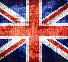 Vintage Britain Flag Burlap Rustic Jute #3 by Nhan Ngo