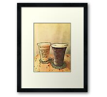 Still Life Pair Earthenware Ceramic Pottery Cups Framed Print