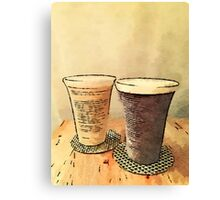 Still Life Pair Earthenware Ceramic Pottery Cups Canvas Print