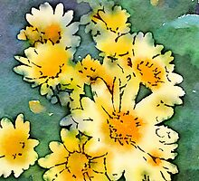Yellow Daisies Digital Watercolor by Beverly Claire Kaiya