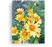 Yellow Daisies Digital Watercolor Canvas Print