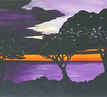 Sunset on Purple Water by spuddy