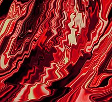 Shades of Red and Black Blending Together Flowing Rippled Motion by Adri Turner