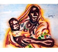Mother and Child in Sandstorm Photographic Print
