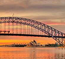 Orange - Moods Of A City # 7 - The HDR Series - Sydney Harbour, Sydney Australia by Philip Johnson