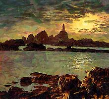 Corbiere Lighthouse, Jersey,  Channel Islands - all products bar duvet by Dennis Melling