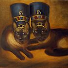 Ethylene and Opalene as Egyptians (my cats) by Randy  Burns