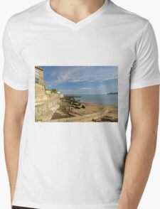 Runswick Bay, Beach and Sea Wall Mens V-Neck T-Shirt
