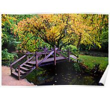 Foot bridge in Autumn Poster