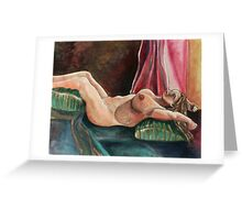 Laying Female Nude (Mixed Media)- Greeting Card