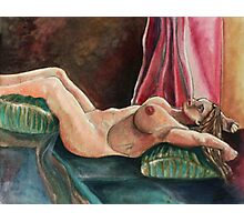 Laying Female Nude (Mixed Media)- Photographic Print