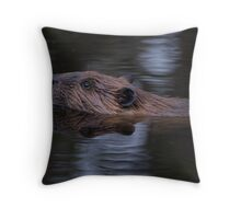 Beaver in Moonlight Throw Pillow