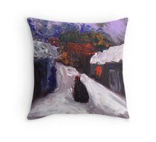 Country snowscene abstract finger painting Throw Pillow