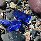 Blue Seaglass & Red Rock by Jenni C