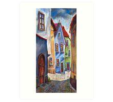 Cesky Krumlov Old Street 1 Art Print