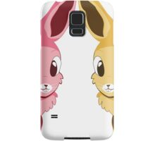 Two cartoon bunnies of pink and yellow colors Samsung Galaxy Case/Skin