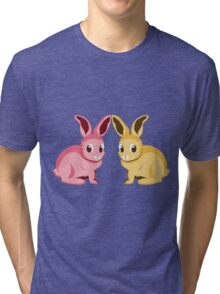 Two cartoon bunnies of pink and yellow colors Tri-blend T-Shirt