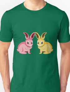 Two cartoon bunnies of pink and yellow colors T-Shirt