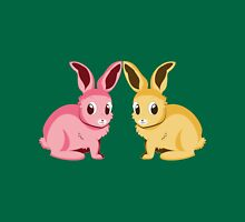 Two cartoon bunnies of pink and yellow colors Unisex T-Shirt