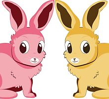 Two cartoon bunnies of pink and yellow colors by AnnArtshock