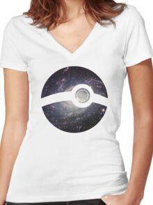 Galaxy - Pokeball Women's Fitted V-Neck T-Shirt