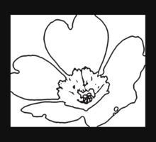 Black and White Abstract Flower by Rebecca Silverman