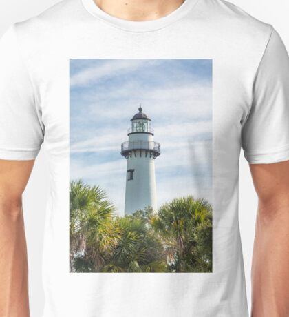 White Lighthouse on Green and Blue Unisex T-Shirt