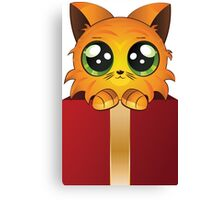 Red kitten in gift box Canvas Print