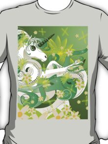 White spring unicorn with flowers and floral T-Shirt