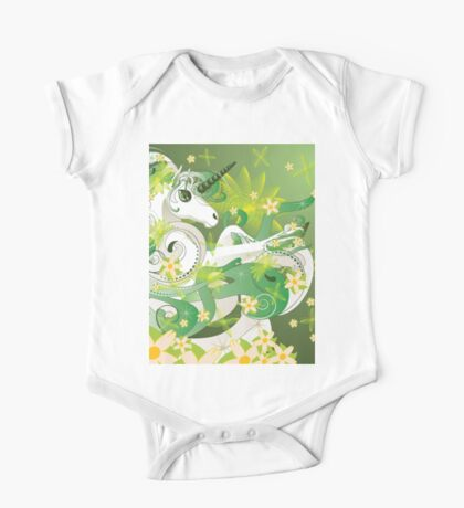 White spring unicorn with flowers and floral One Piece - Short Sleeve