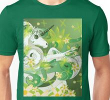 White spring unicorn with flowers and floral Unisex T-Shirt