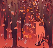 Silhouette of a stag in the forest at the autumn time 2 by AnnArtshock