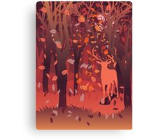 Silhouette of a stag in the forest at the autumn time 2 Canvas Print