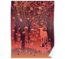 Silhouette of a stag in the forest at the autumn time 2 Poster