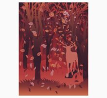 Silhouette of a stag in the forest at the autumn time 2 Kids Clothes