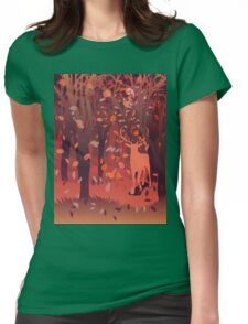 Silhouette of a stag in the forest at the autumn time 2 Womens Fitted T-Shirt