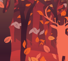 Silhouette of a stag in the forest at the autumn time 2 Sticker