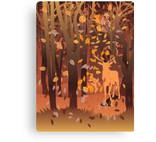 Silhouette of a stag in the forest at the autumn time Canvas Print