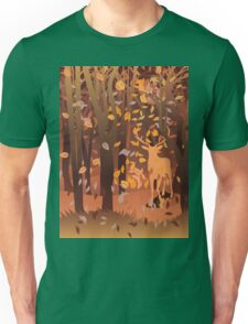 Silhouette of a stag in the forest at the autumn time Unisex T-Shirt