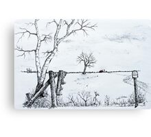 Twin Birch Fence Line Canvas Print