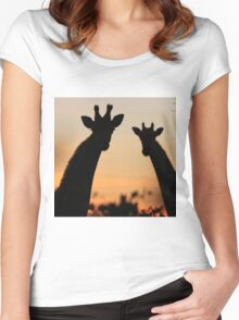 Giraffe Sunset - African Wildlife - Peaceful Tranquility Women's Fitted Scoop T-Shirt