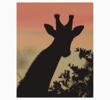 Giraffe Sunset - African Wildlife - Majestic Peace Kids Tee
