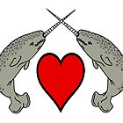 Crossed Horn Narwhals with Heart by imphavok