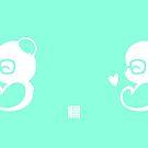 Panda Silhouette Light Green Mug by Panda And Polar Bear