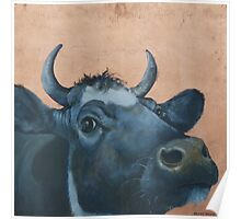 """""""The Grass Is Always Greener..."""" Cow Gazing Over Fence Poster"""