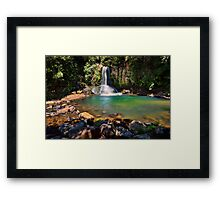 Waiau Falls Bright Water Framed Print