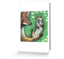 Playful foxes Greeting Card