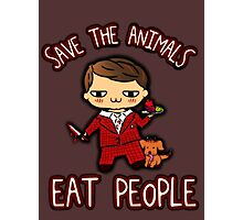 SAVE THE ANIMALS, EAT PEOPLE (3) - hannibal doodle Photographic Print