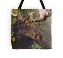 bull moose portrait amid aspen and spruce Tote Bag